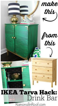 Whoa. She took the drawers and MADE THEM INTO DOORS! How cool is that?! And that green color - gorgeous! IKEA Tarva Hack: Drink Bar
