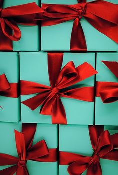 Christmas: Glamour and Traditional:  My favorite blue box tied up with red ribbon for Holiday!