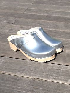 Silver clogs from Karlsson's Clogs