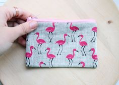 Flamingo Coin Purse, Small purse, Flamingo purse, Small Wallet, Credit Cards case, Makeup bag, linen purse, eco-friendly, gift for her by TheBestShopEverFW on Etsy