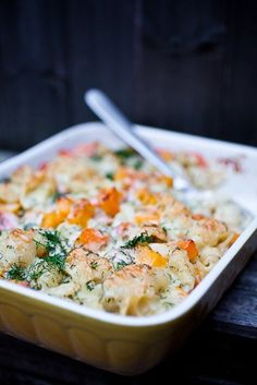 Macaroni and Gruyère Cheese with Butternut Squash, Smoked Salmon and Dill