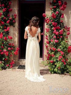 Personnalisé fait blanc v-Neck Sweep Train dentelle robes de mariée, robes de mariée, une ligne de Cap manches dentelle robes de mariée, robes de mariée