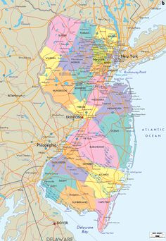 Map of State of New Jersey, with outline of the state cities, towns and counties. State roads connections clearly shown.
