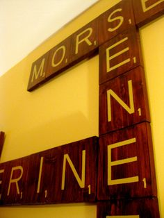 giant custom scrabble tiles as wall art -- by @Amy Griffin !!!