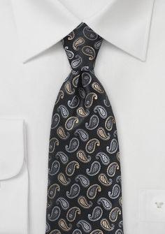 Paisley-Motiv-Krawatte nachtschwarz hellgrau beige