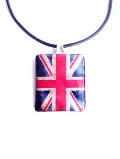 Κρεμαστό λαιμού decoupage Αγγλική Σημαία με υγρό γυαλί.