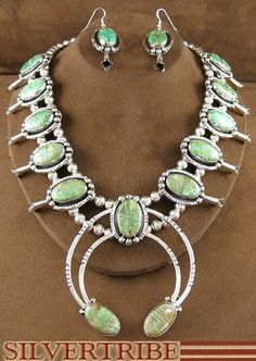 Navajo Emerald Valley Turquoise Squash Blossom Necklace
