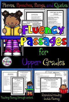 Reading Fluency Passages for Upper Grades Packet #1 is a collection of poems, songs, quotes, and speeches that teach about America��s history as students focus on reading fluency.  Students learn to read with feeling as they read important speeches that ha