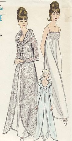 Vintage Vogue 6430 Misses Nightgown and Robe- Peignoir Set Sewing Pattern Size 12 Bust 32 1960s Fashion, Look Fashion, Vintage Fashion, Fashion Details, Dress Fashion, Motif Vintage, Vintage Dress Patterns, Vintage Outfits, Vintage Dresses