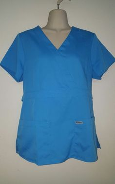 GREY'S ANATOMY Scrub Top, Uniform Size Medium,  Light Blue, Nursing, Vet, Dental #GreysAnatomy