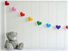 Rainbow heart garland - heart banner - Nursery decor - birthday decor - party decor - made to order. $37.00, via Etsy.