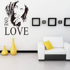 Bob Marley One Love Removable Vinyl Wall Stickers Decal Wallpaper Art Home Decor