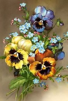 Art Floral, Floral Vintage, Vintage Flowers, Flower Painting Canvas, China Painting, Painting & Drawing, Fleur Pansy, Watercolor Flowers, Watercolor Paintings