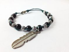 Black and Silver Feather Charm Bracelet Charm by OpenHeartOneLove