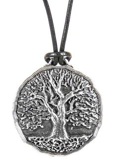 Britannia metal necklace jewelry, hung on adjustable length, quality leather cord. Hand cast in the U.S.A. by Oberon Design. Tree of Life.