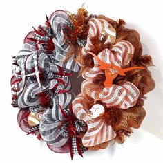 Crazyboutdeco Alabama Crimson Tide/Texas Longhorns Fan House Divided Wreath #Crazyboutdeco