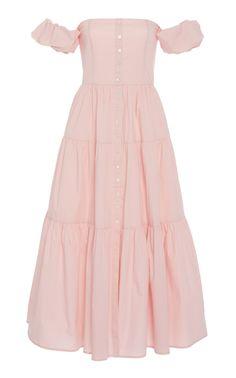 Embroidered Wool-Blend Dress by Lela Rose Satin Dresses, Cotton Dresses, Silk Satin, Poplin, Dress Patterns, Lady, Shoulder Dress, Off The Shoulder, Cute Outfits