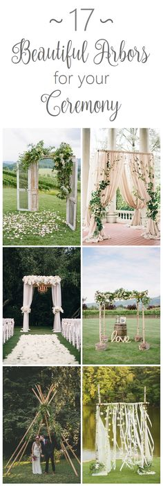 Wedding arbors and arches for your ceremony. Boho, rustic, and glam styles.