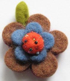 Crocheted wool Brooch