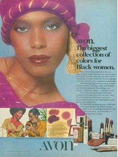 Avon Ad about Headline: Avon. The biggest collection of colors for Black women. Vintage Makeup Ads, Retro Makeup, Vintage Avon, Retro Vintage, 1970s Makeup, Vintage Trends, Vintage Soul, Vintage Black Glamour, Vintage Beauty