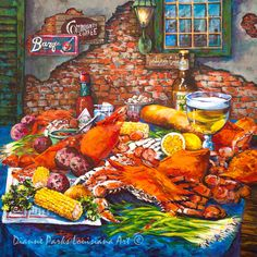Pontchartrain Crabs by Dianne Parks Being from Louisiana I can truly say her paintings are a true depiction of New Orleans. Louisiana Chicken Pasta, Louisiana Seafood, Louisiana Art, Louisiana Recipes, Louisiana Kitchen, Louisiana Swamp, Louisiana History, Mardi Gras, Crab Painting