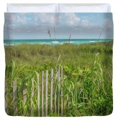 DUVET COVER featuring the  digitally painted photograph ~ Painted Seaside Vegetation ~  by Keith Childers | Available in TWIN, FULL, QUEEN amd KING sizes • Made from microfiber material • Machine washable.