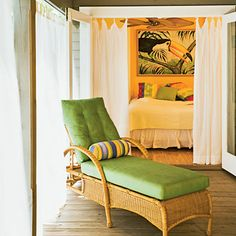 Green Splash   Add a twist of lime to your color scheme. Fabrics in the cheerful hue punch up wood or wicker furnishings.