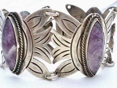 Pin To Remember The Jewelry Lady's Store: Early Mexican Sterling Silver Amethyst Bracelet