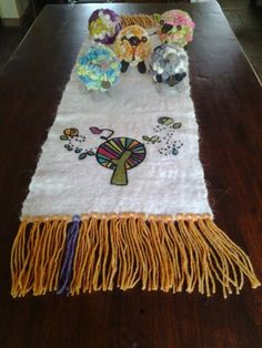 Felted table runner and felted sheeps,by Emi Porzia,Argentina