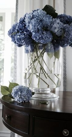 My Blue and White Abode Very Beautiful Flowers, Blue Hydrangea, Navy Blue Flowers, Himmelblau, My Flower, Fresh Flowers, Flower Decorations, Shades Of Blue, Floral Arrangements