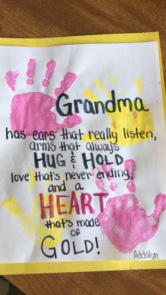 Trendy Birthday Crafts For Mom From Toddler Valentine Cards Ideas Birthday Presents For Grandma, Diy Gifts For Grandma, Grandma Crafts, Grandparents Day Crafts, Mothers Day Crafts For Kids, Diy Mothers Day Gifts, Diy For Kids, Dad Gifts, Grandparent Gifts