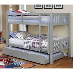 Harriet Bee Victory Twin Over Twin Bunk Bed with Trundle Bed Frame Color: Gray Bunk Bed Sets, Bunk Bed With Trundle, Full Bunk Beds, Kids Bunk Beds, Solid Wood Bunk Beds, Modern Bunk Beds, Grey Bedding, Bedding Sets, Luxury Bedding