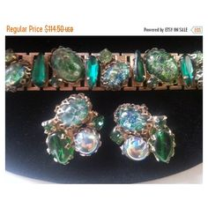 Now On Sale Vintage Chunky Rhinestone Bracelet Earring Set Headlight Huge Stones 1950's Collectible Jewelry High End Quality ($80) found on Polyvore featuring women's fashion, jewelry, bracelets, chunk jewelry, vintage rhinestone jewelry, stone jewelry, vintage jewellery and vintage bangles