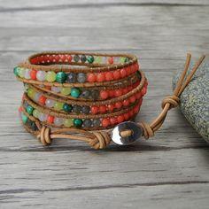 bead wrap bracelet boho bead bracelet gemstone wrap bracelet