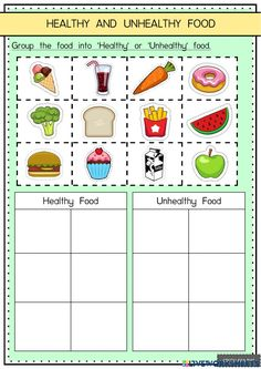 Food Vocabulary, Vocabulary Activities, Preschool Worksheets, Activities For Kids, Healthy And Unhealthy Food, Food Online, Flashcard, Group Meals, Phonics