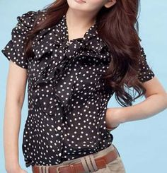 Turndown Collar Short Sleeved Polka Dot Embellished Black Polyester Blouse