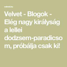 Velvet - Blogok - Elég nagy királyság a lellei dodzsem-paradicsom, próbálja csak ki!