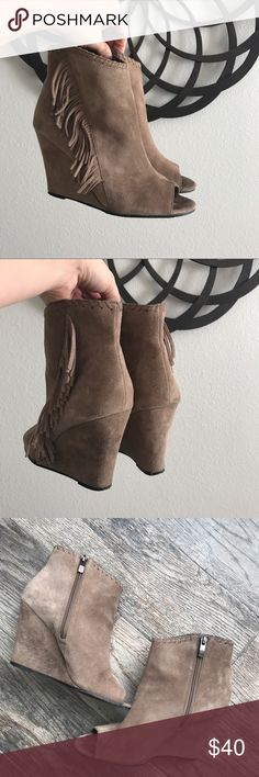Vince Camuto Suede Peep Toe Wedge Booties Vince Camuto Peep Toe Wedge Booties  -Size 8.5 -Gently used. -Suede, Taupe color. Vince Camuto Shoes Heeled Boots