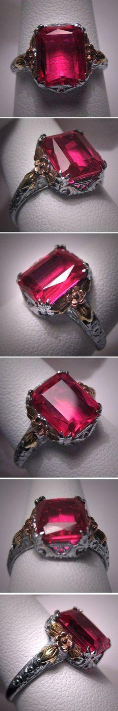 Gorgeous Antique Ruby Ring Vintage Art Deco Wedding White Gold