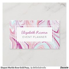 Elegant Marble Rose Gold Purple Blue Event Planner Business Card Elegant Business Cards, Professional Business Cards, Business Card Design, Purple Gold, Rose Gold, Personalized Buttons, Gold Makeup, Purple Backgrounds, Gold Bands
