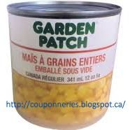Coupons et Circulaires: ** .33¢ Maïs en Grain GARDEN PATCH **