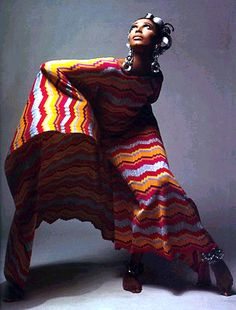 Donyale Luna in a psychedelic tunic, 1960s.