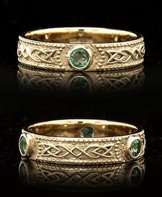 Celtic Shield Band with Three Emeralds