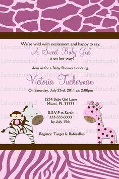 Wild Safari Baby Shower Invitation Digital File by ShesTutuCuteBtq, $11.00
