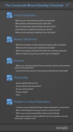 The Corporate Brand Identity Checklist [Infographic], via @HubSpot  #branding #marketing