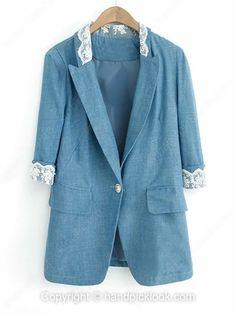 Blue Contrast Lapel Lace Embellished Blazer -$32.39