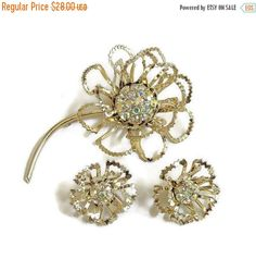 """❘❘❙❙❚❚ Spring Sale ❚❚❙❙❘❘     This is a wonderful Aurora Borealis Rhinestone Flower Brooch and Earrings Set #Vintage Open Cut signed Coventry!  This set is from the """"Allusio... #vintage #jewelry #fashion"""