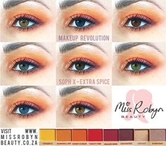 Gorgeous sunset colours in this eye look from sop x - extra spice palette. What colour eye are you? What Makeup To Buy, Love Makeup, Makeup Brands, Best Makeup Products, Best Lighting For Makeup, Makeup Revolution Soph, Holographic Lips, Lip Palette, Sunset Colors