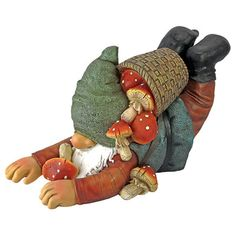 Design Toscano Clumsy Karl the Mushroom Hunter Gnome Statue & Reviews | Wayfair