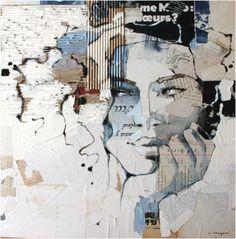 Collage Portrait, Abstract Portrait, Paper Collage Art, Paper Art, Art Journal Inspiration, Painting Inspiration, Figure Painting, Painting & Drawing, Art Visage